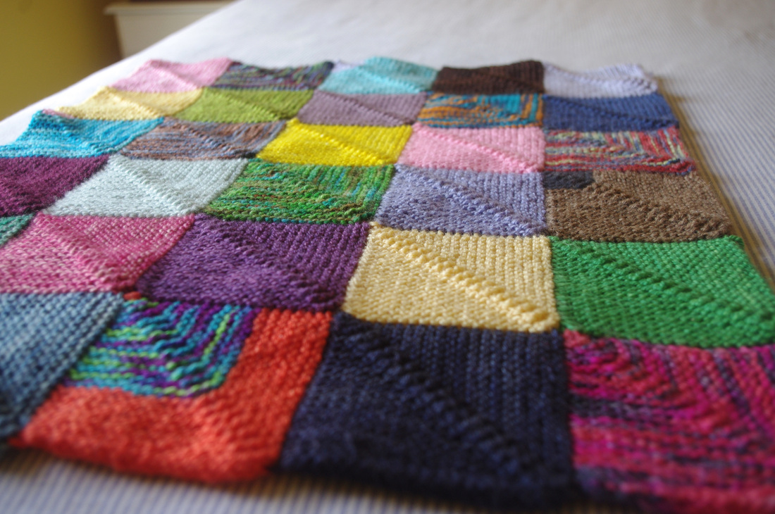 Knitting Patterns Squares : Knitted Squares Blanket Pattern images